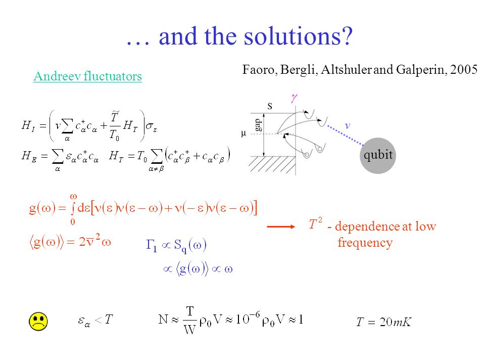 … and the solutions Faoro, Bergli, Altshuler and Galperin, 2005