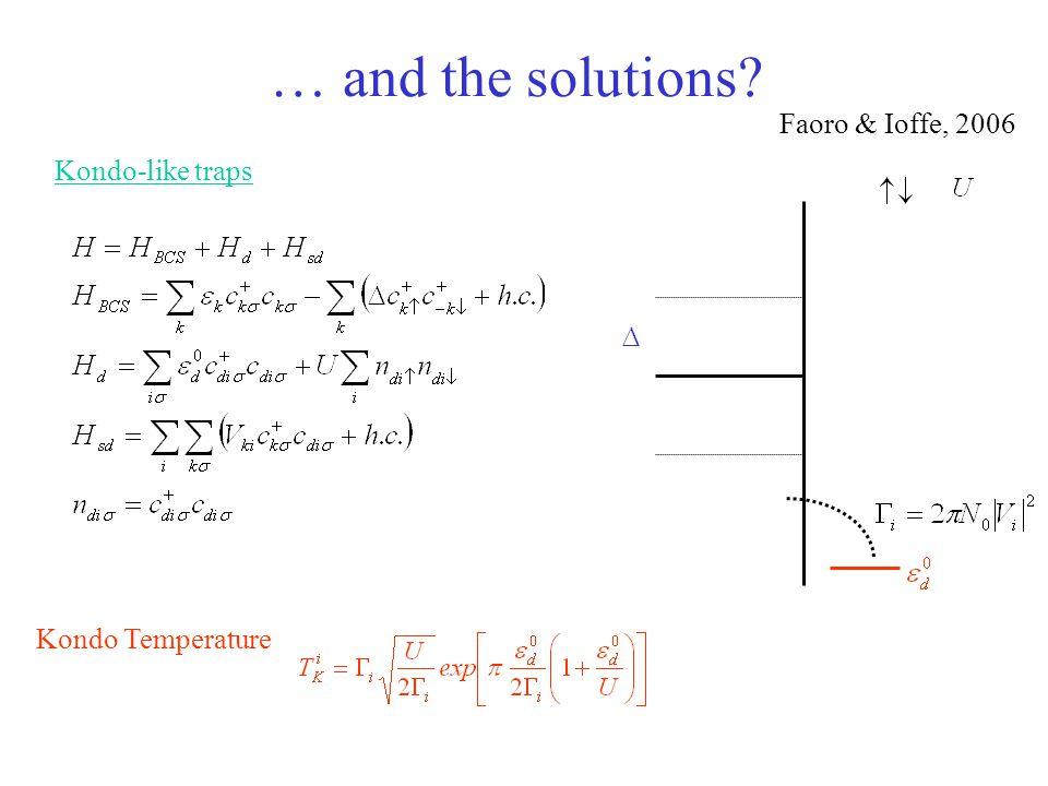 … and the solutions Faoro & Ioffe, 2006 Kondo-like traps