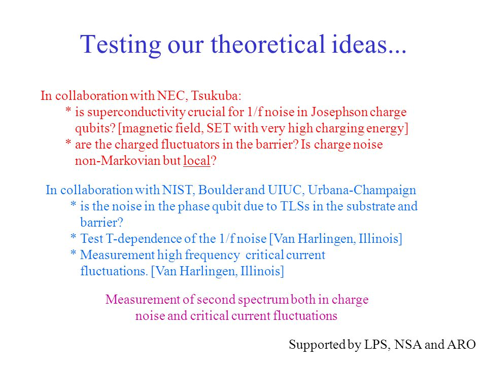 Testing our theoretical ideas...