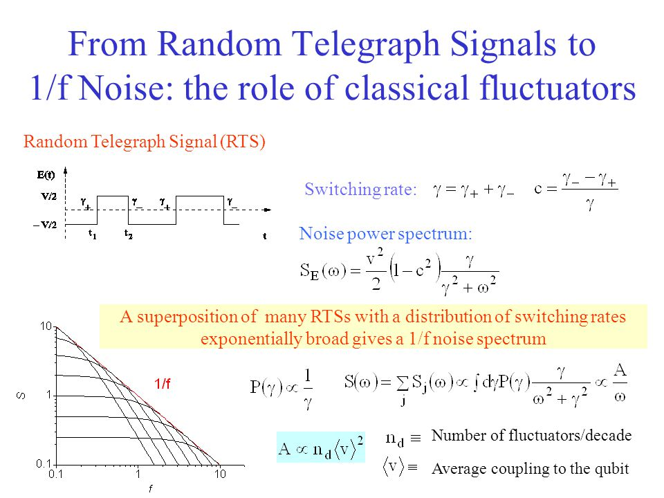 From Random Telegraph Signals to 1/f Noise: the role of classical fluctuators