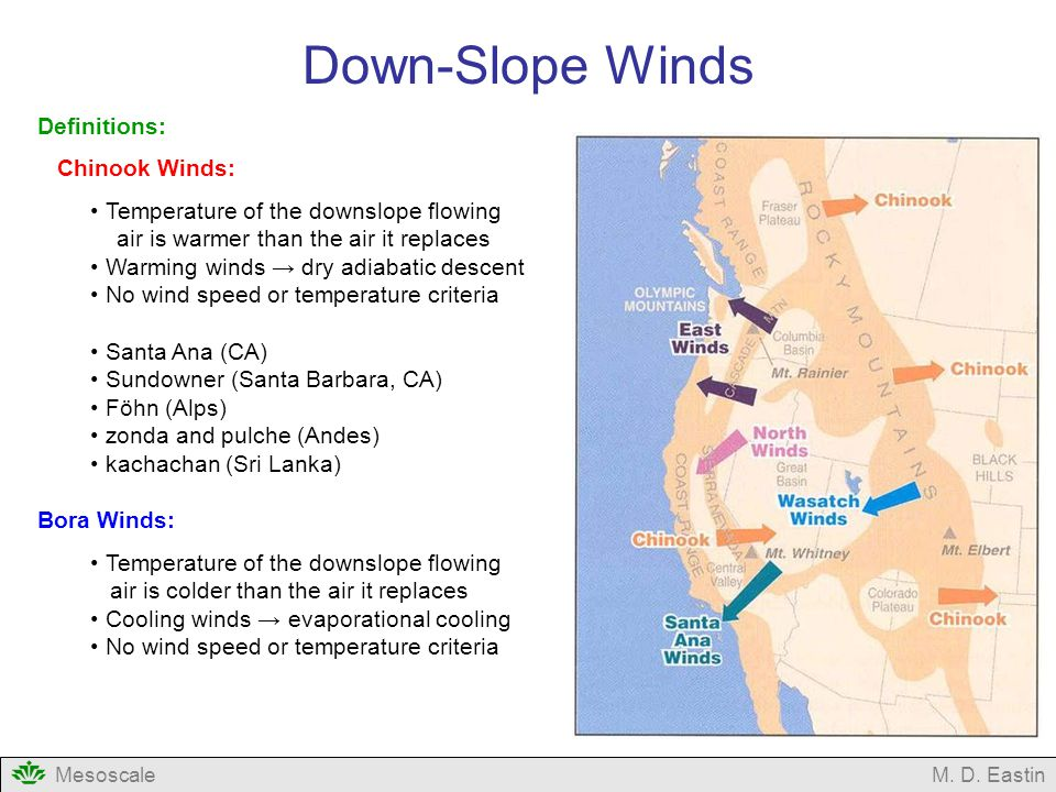 Down-Slope Winds Definitions: Chinook Winds: