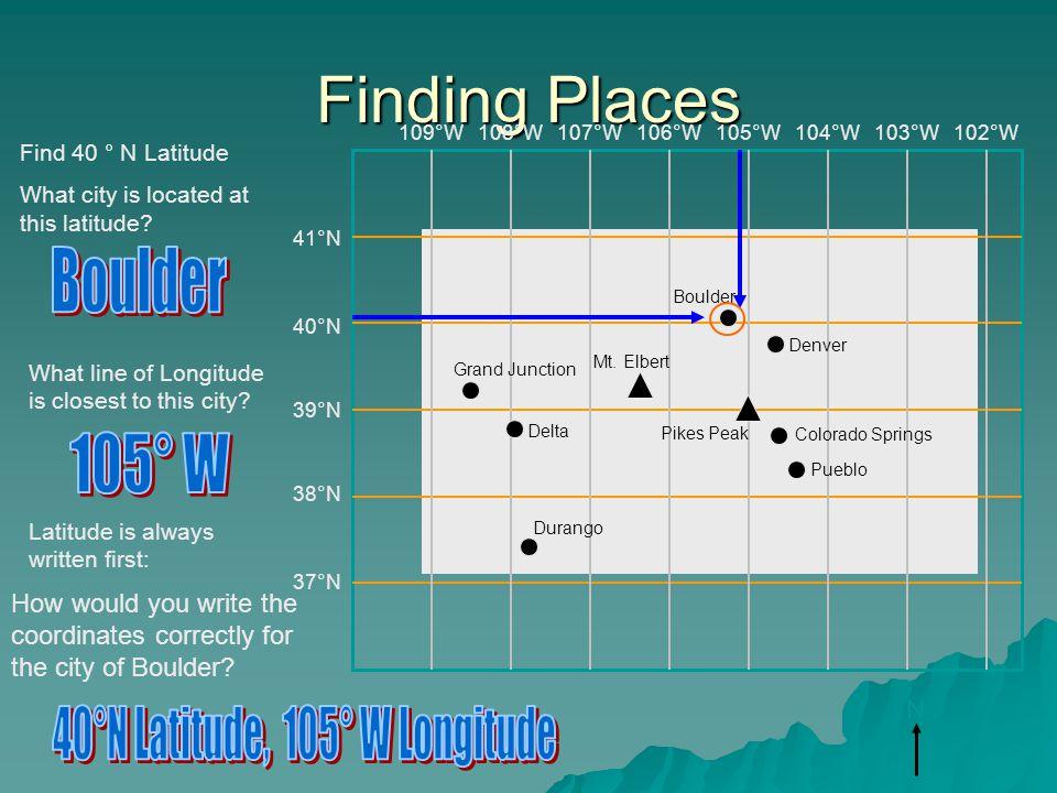 40°N Latitude, 105° W Longitude