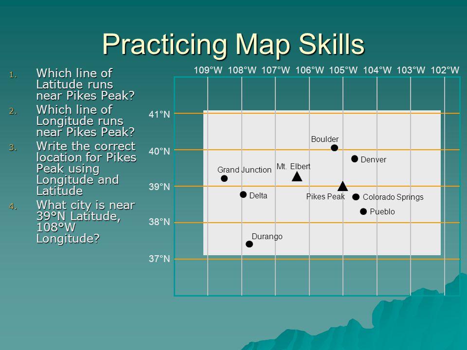 Practicing Map Skills Which line of Latitude runs near Pikes Peak