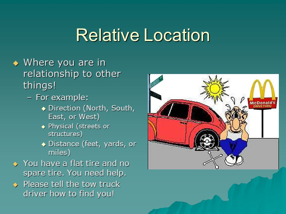 Relative Location Where you are in relationship to other things!
