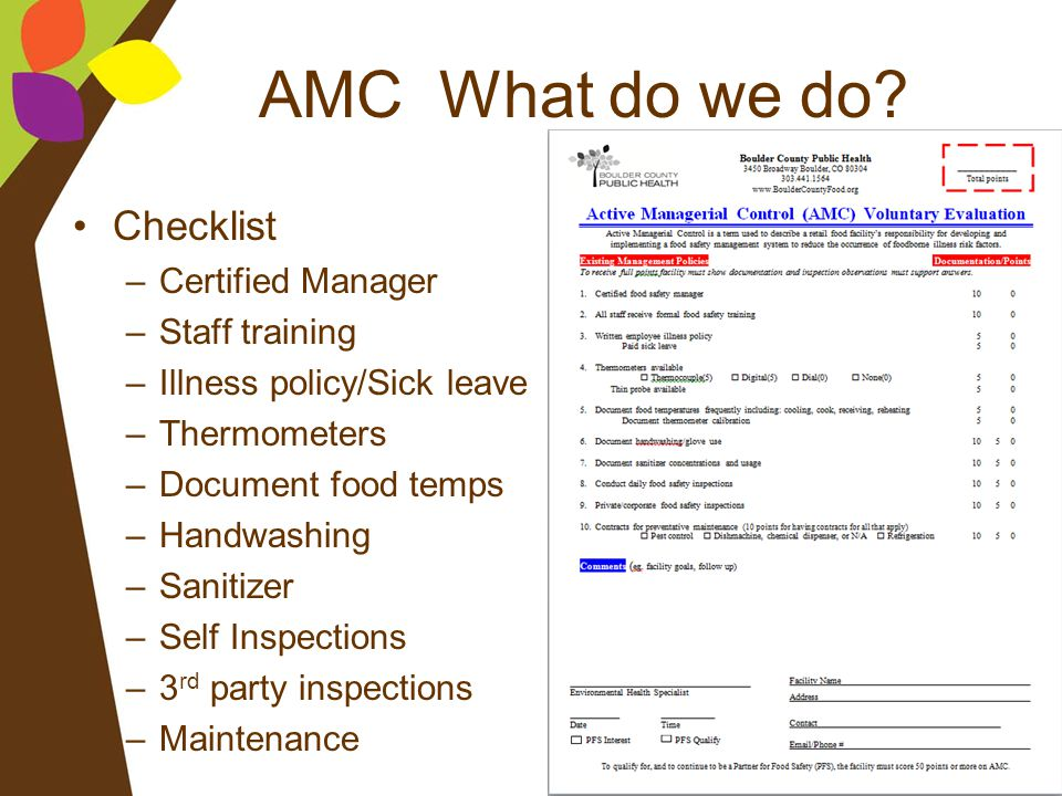 AMC What do we do Checklist Certified Manager Staff training