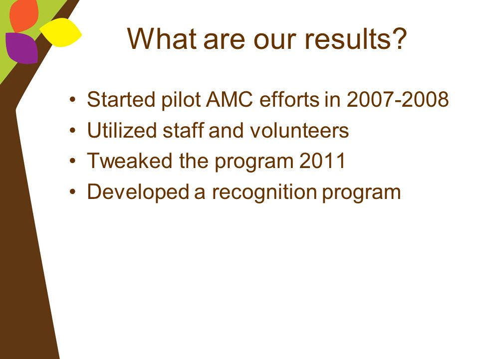 What are our results Started pilot AMC efforts in 2007-2008