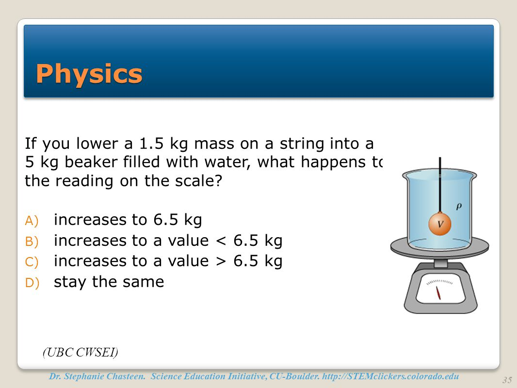Physics If you lower a 1.5 kg mass on a string into a 5 kg beaker filled with water, what happens to the reading on the scale