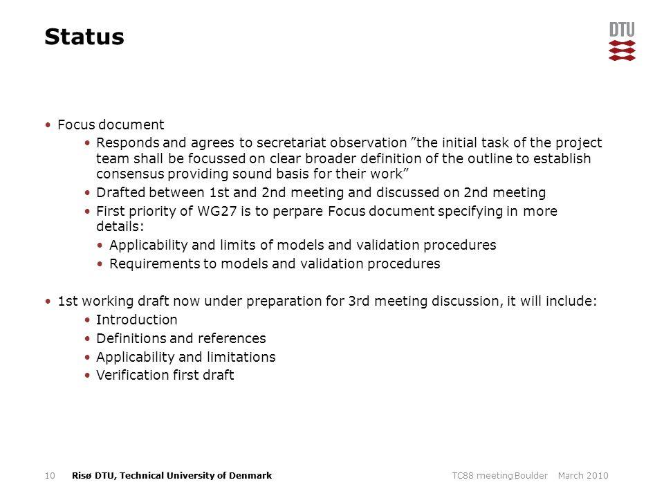 Status Focus document.