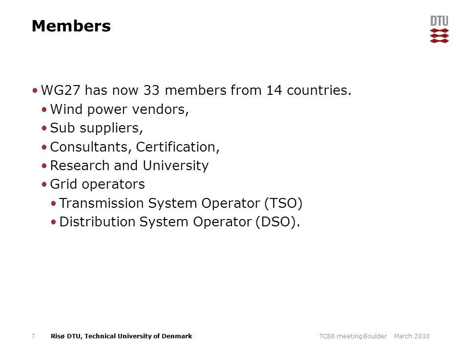 Members WG27 has now 33 members from 14 countries. Wind power vendors,