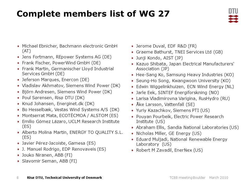 Complete members list of WG 27