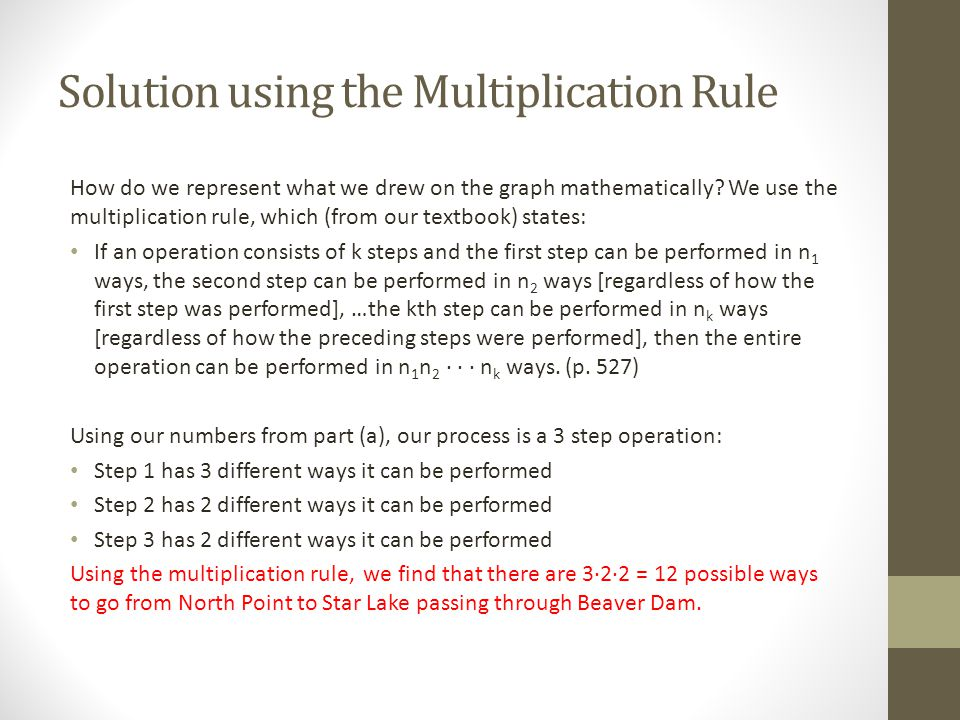 Solution using the Multiplication Rule