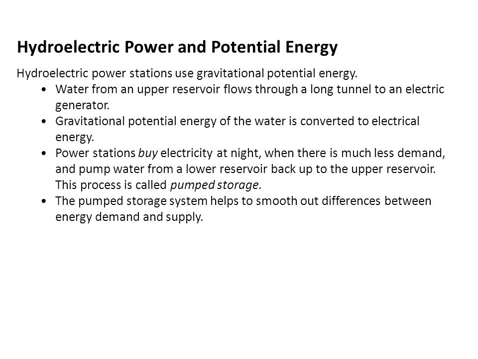 Hydroelectric Power and Potential Energy
