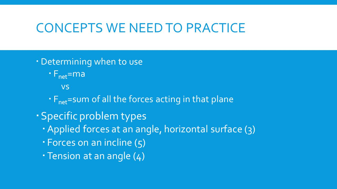 Concepts we need to practice