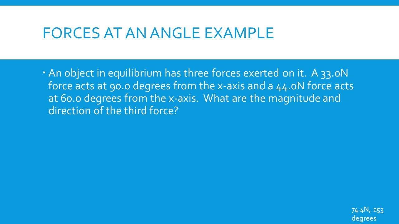 Forces at an angle example