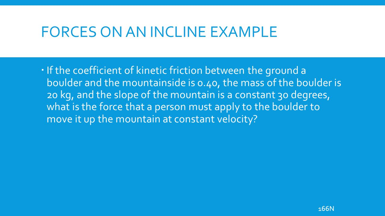 Forces on an incline example