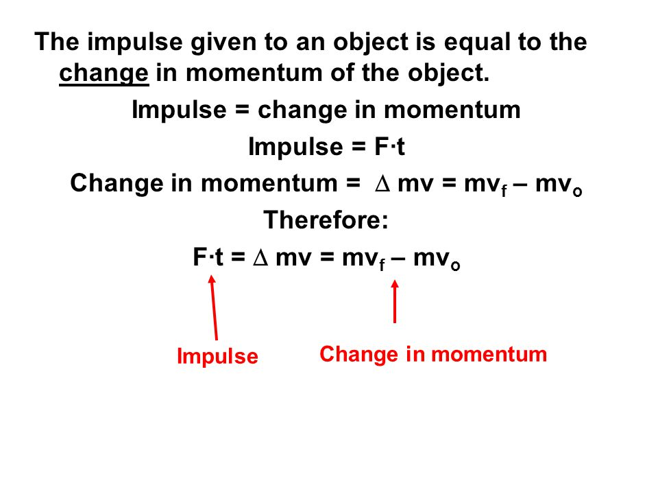 Impulse = change in momentum Change in momentum = D mv = mvf – mvo