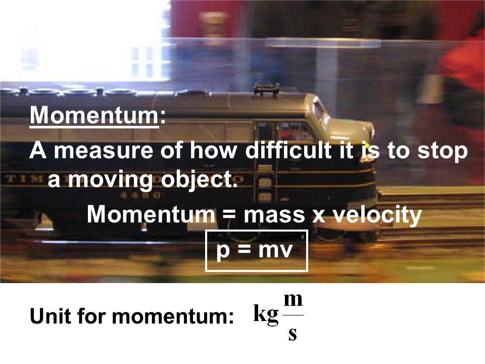 Momentum = mass x velocity