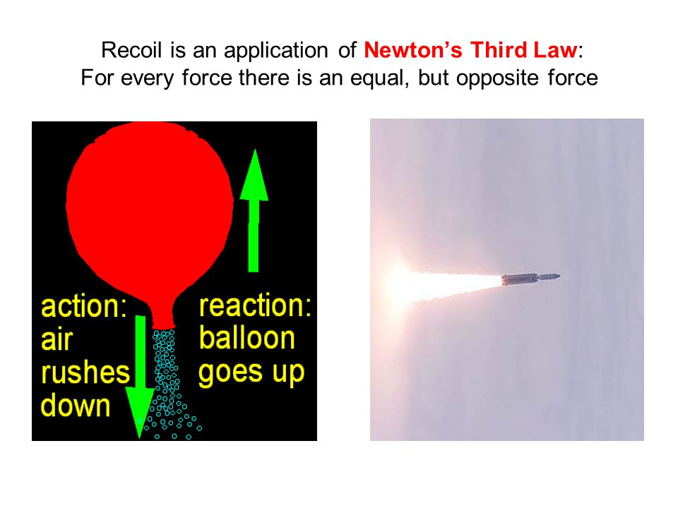 Recoil is an application of Newton's Third Law: For every force there is an equal, but opposite force