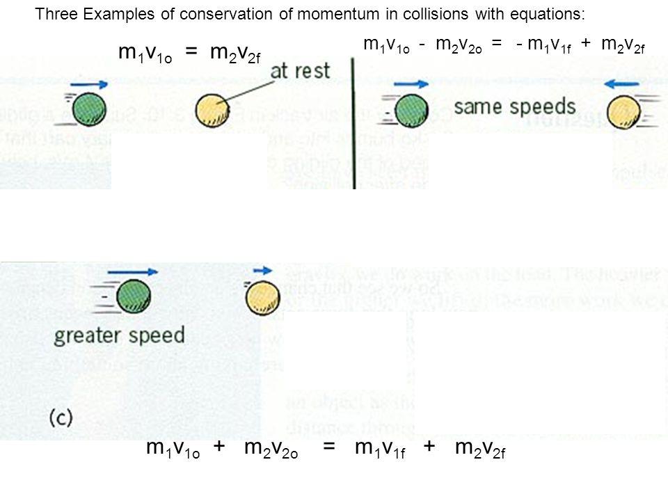 m1v1o = m2v2f m1v1o + m2v2o = m1v1f + m2v2f
