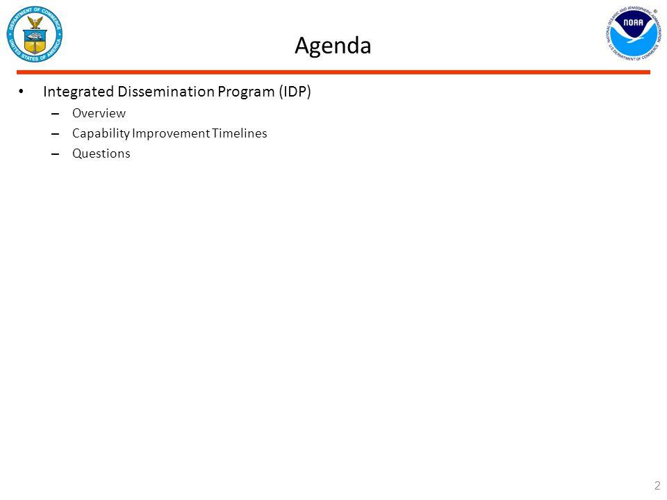Agenda Integrated Dissemination Program (IDP) Overview