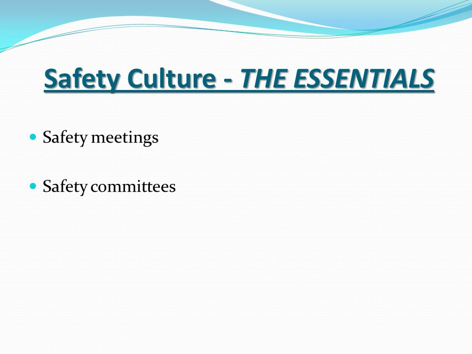 Safety Culture - THE ESSENTIALS