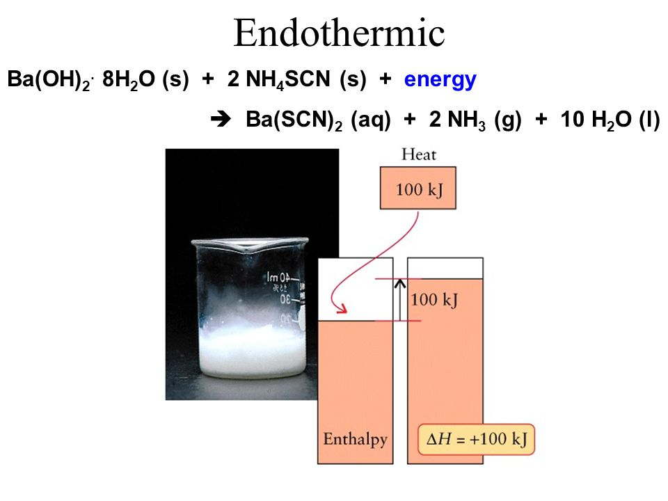 Endothermic Ba(OH)2. 8H2O (s) + 2 NH4SCN (s) + energy