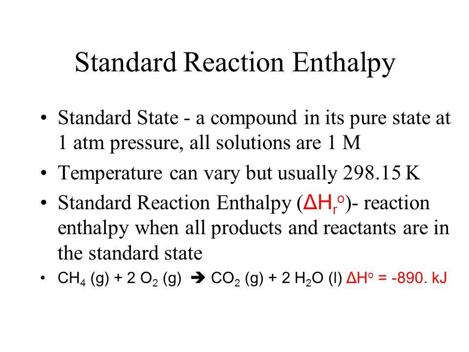 Standard Reaction Enthalpy