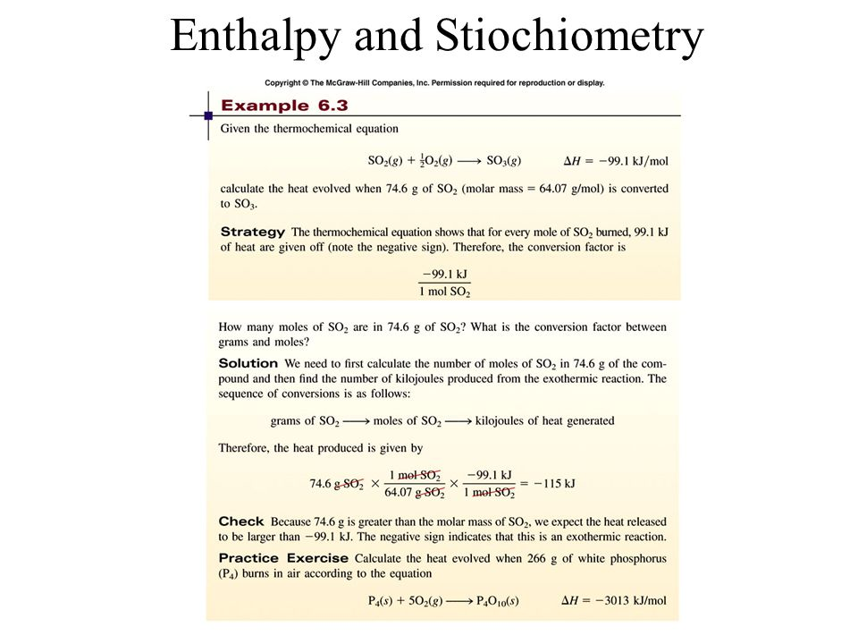 Enthalpy and Stiochiometry
