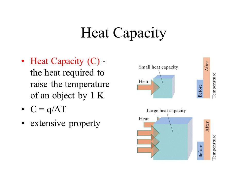 Heat Capacity Heat Capacity (C) - the heat required to raise the temperature of an object by 1 K. C = q/ΔT.