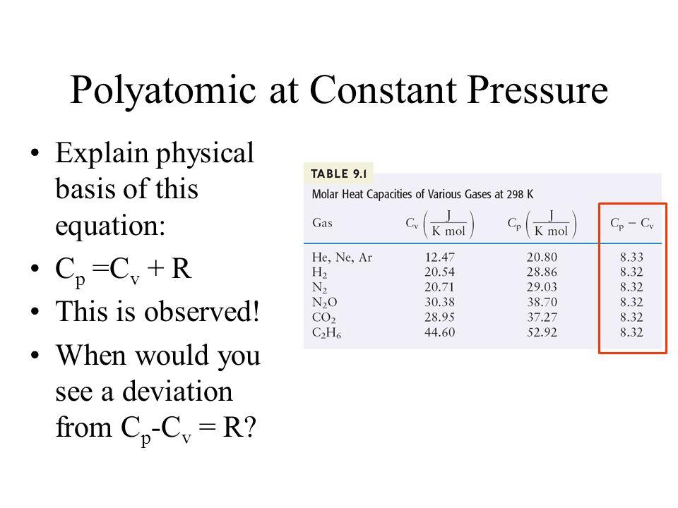 Polyatomic at Constant Pressure