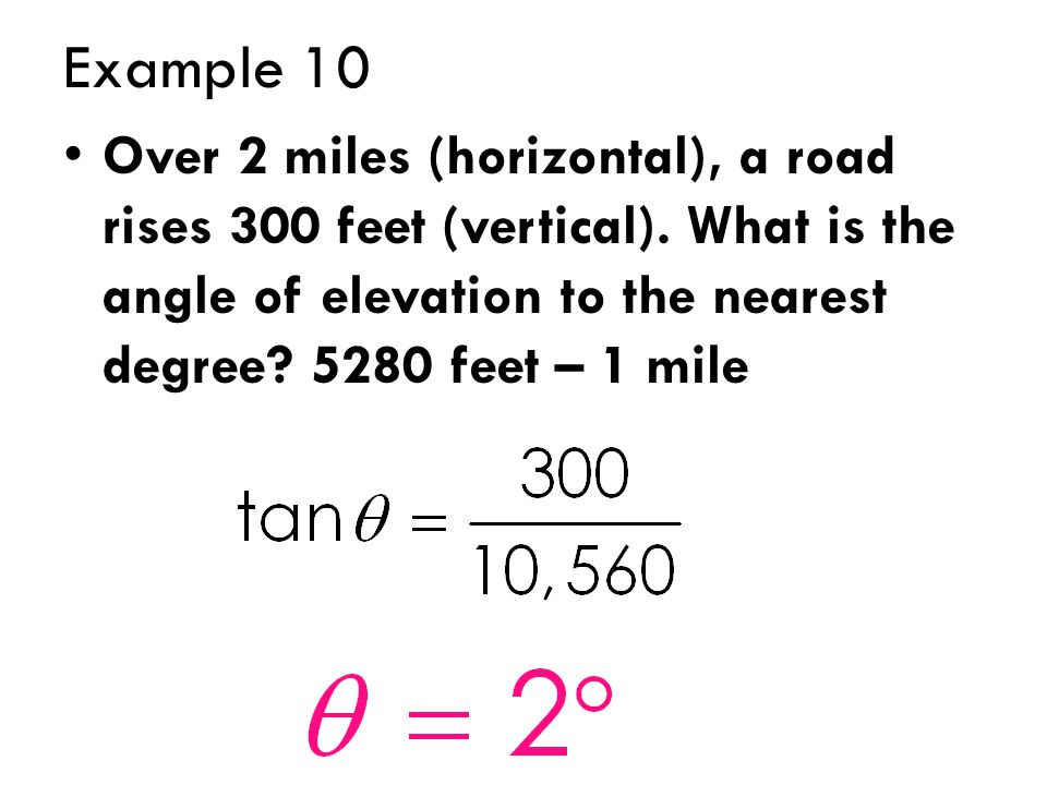 Example 10 Over 2 miles (horizontal), a road rises 300 feet (vertical).