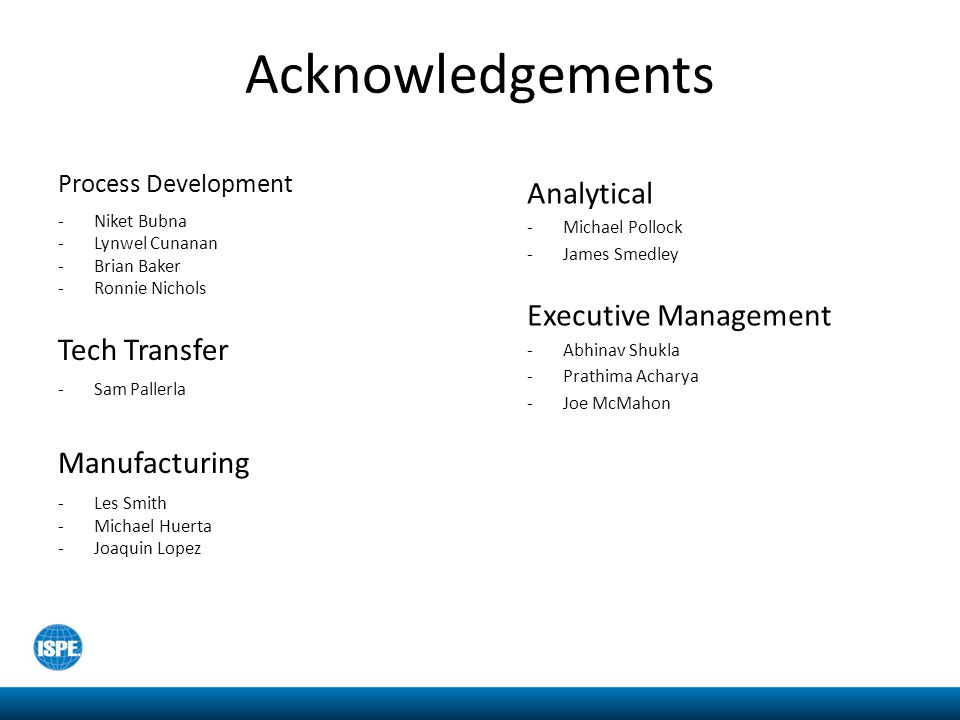 Acknowledgements Analytical Executive Management Tech Transfer