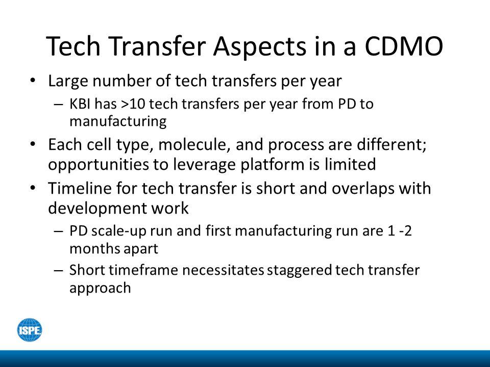Tech Transfer Aspects in a CDMO