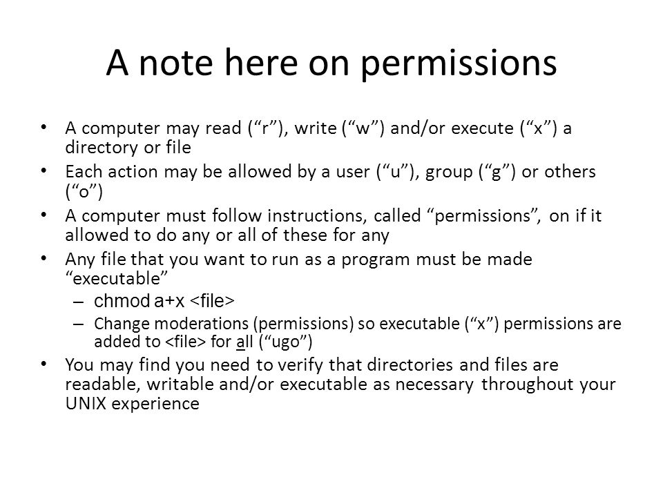 A note here on permissions