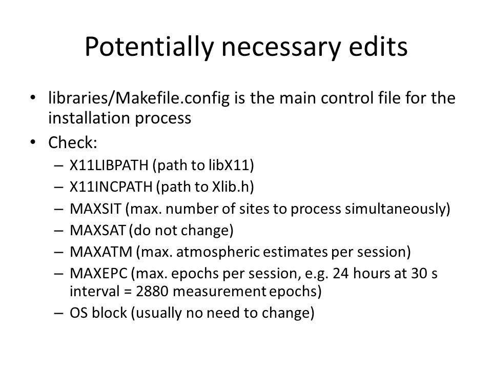 Potentially necessary edits
