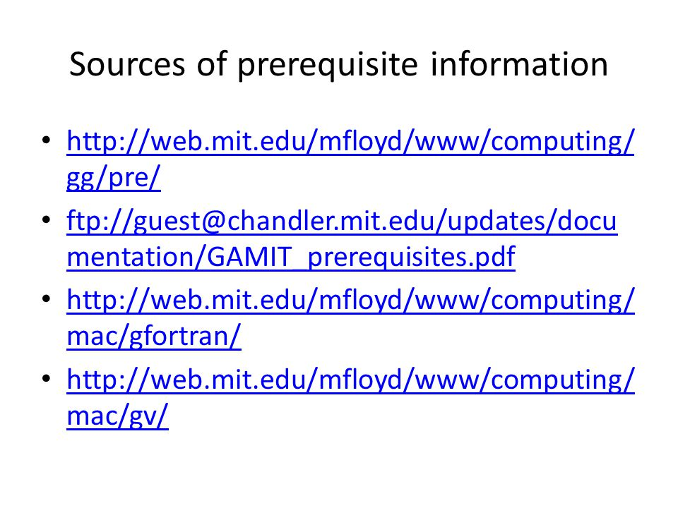 Sources of prerequisite information