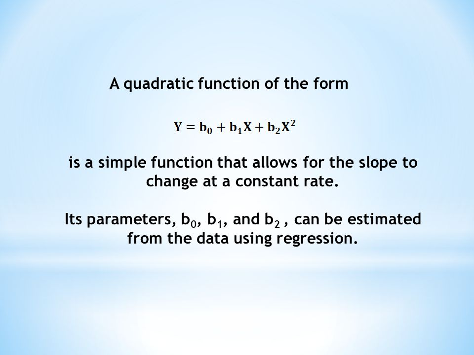 A quadratic function of the form