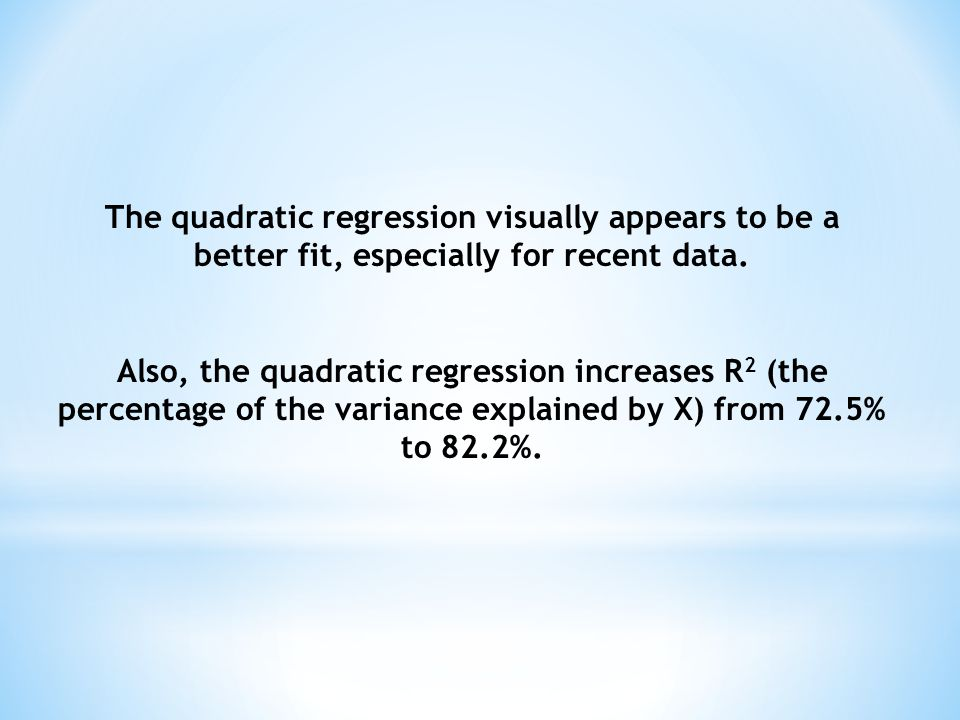 The quadratic regression visually appears to be a better fit, especially for recent data.