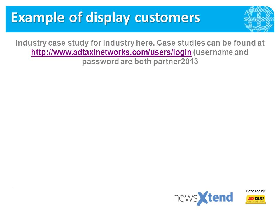 Example of display customers