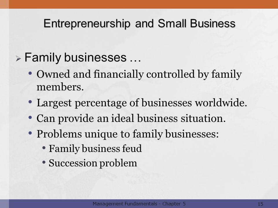 Family businesses … Entrepreneurship and Small Business