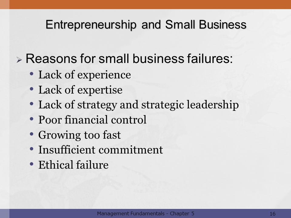Reasons for small business failures: