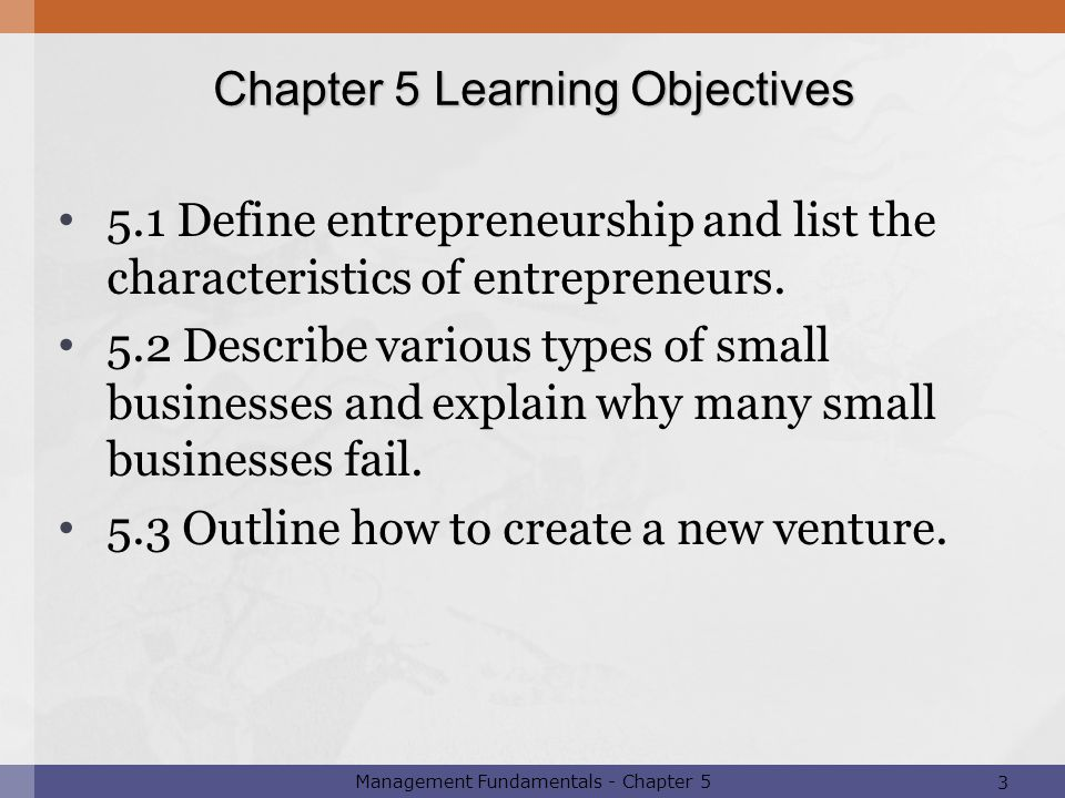 Chapter 5 Learning Objectives