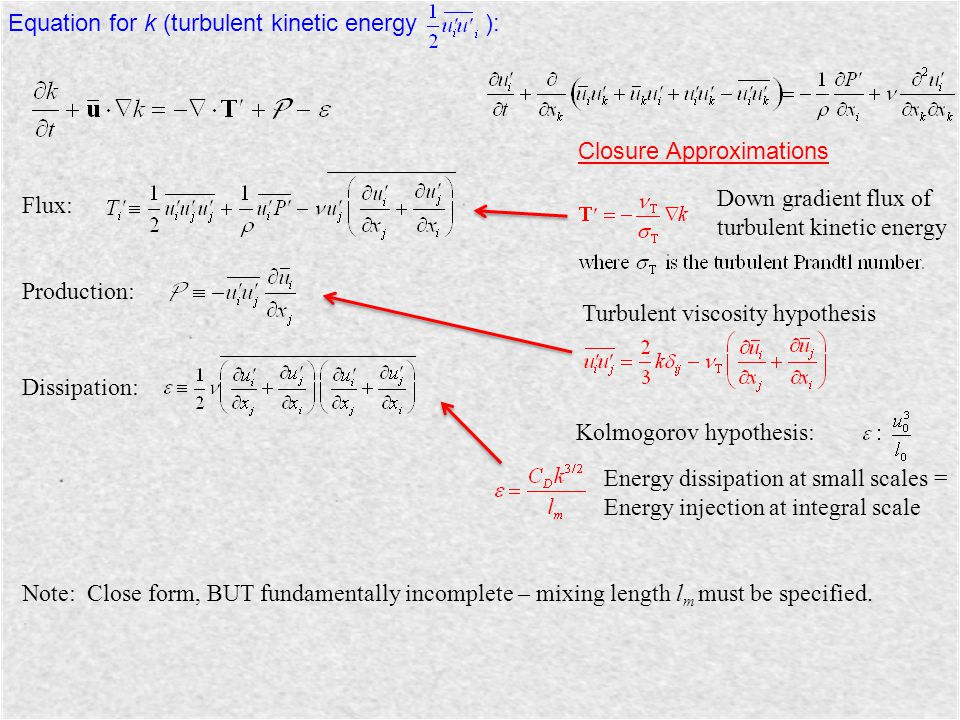 Equation for k (turbulent kinetic energy ):