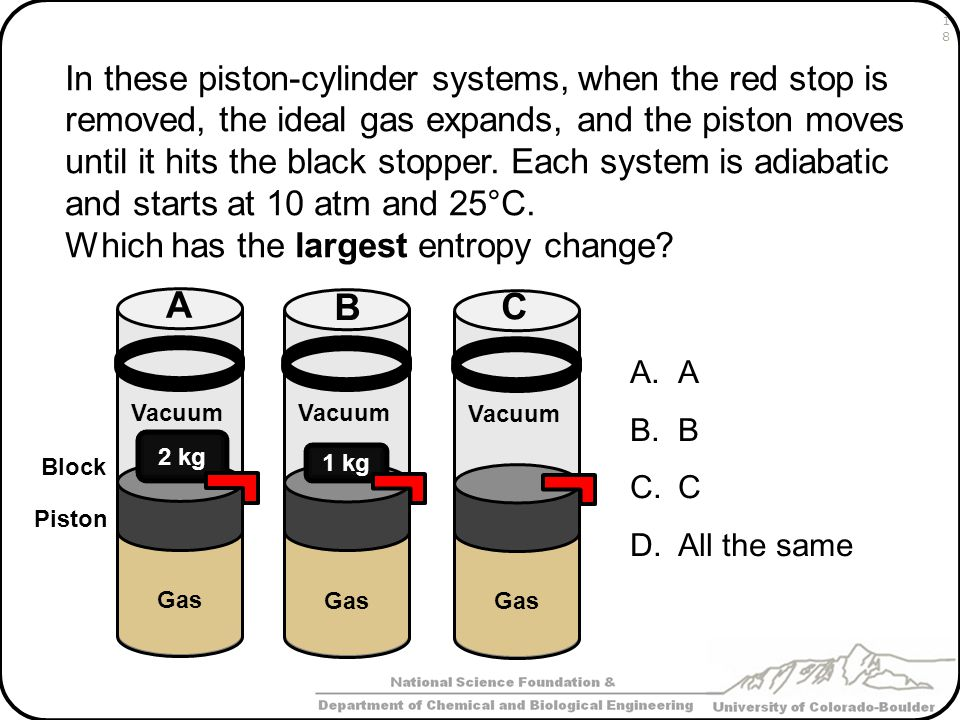 In these piston-cylinder systems, when the red stop is removed, the ideal gas expands, and the piston moves until it hits the black stopper. Each system is adiabatic and starts at 10 atm and 25°C.