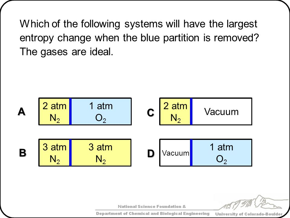 Which of the following systems will have the largest entropy change when the blue partition is removed