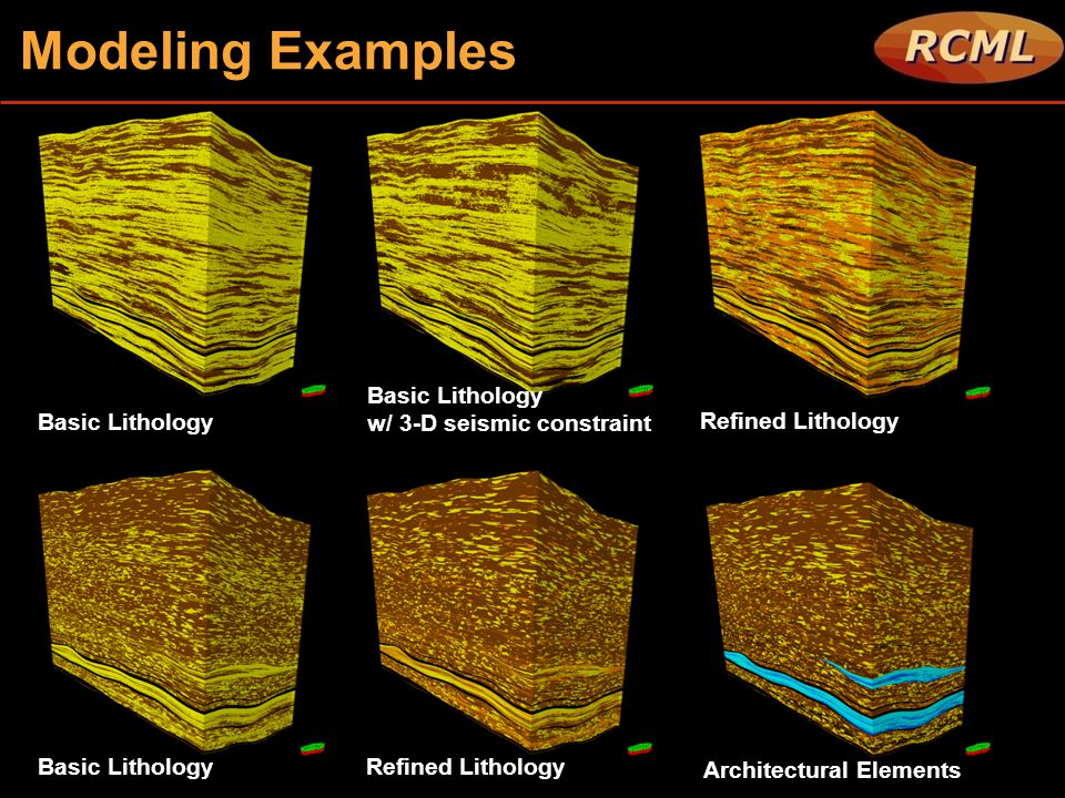 Modeling Examples Basic Lithology w/ 3-D seismic constraint