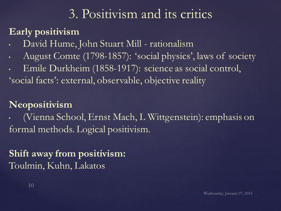 criticisms of the positivism approach Advertisements: as a philosophical ideology and movement positivism first assumed its distinctive features in the work of the french philosopher auguste comte,  comte's positivism and its characteristics article shared by:  criticisms: (i) though, comte claimed to be the father of positivism or scientific approach.
