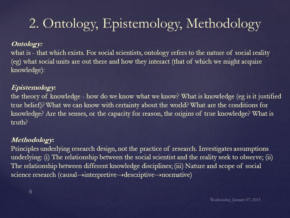 2. Ontology, Epistemology, Methodology