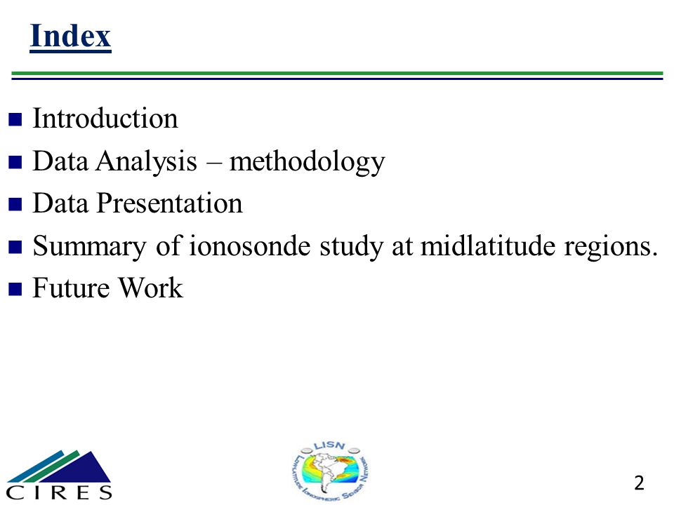 Index Introduction Data Analysis – methodology Data Presentation