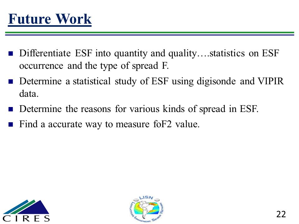 Future Work Differentiate ESF into quantity and quality….statistics on ESF occurrence and the type of spread F.